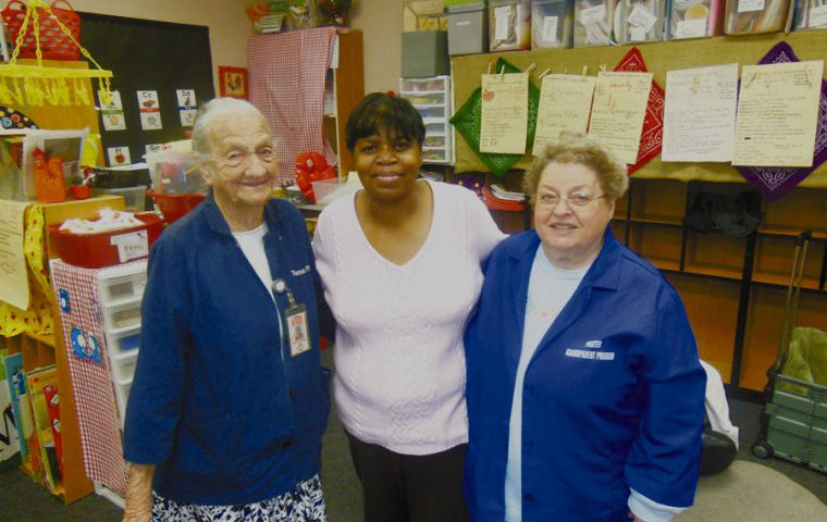 From left to right are Edison foster grandparents Ruby Brackeen, Sharon Fugett and Mary Alice Jordan. The three grandmothers are part of a foster grandparent program set up by Texas Council of Governments (TCOG).