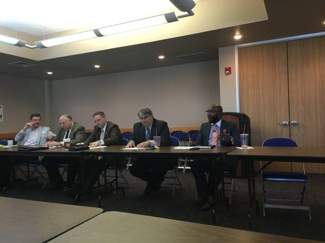MIRANDA WILCOX / HERALD DEMOCRAT - Economic Development Representative Cornell Wesley, right, is introduced to six different Council of Governments leaders by Jorge Ayala, second from the right, at an Economic Development Alliance meeting Wednesday afternoon. - See more at: http://heralddemocrat.com/news/local/economic-development-meeting-sees-6-different-cogs-sharing-ideas#sthash.uCcjD1KV.dpuf