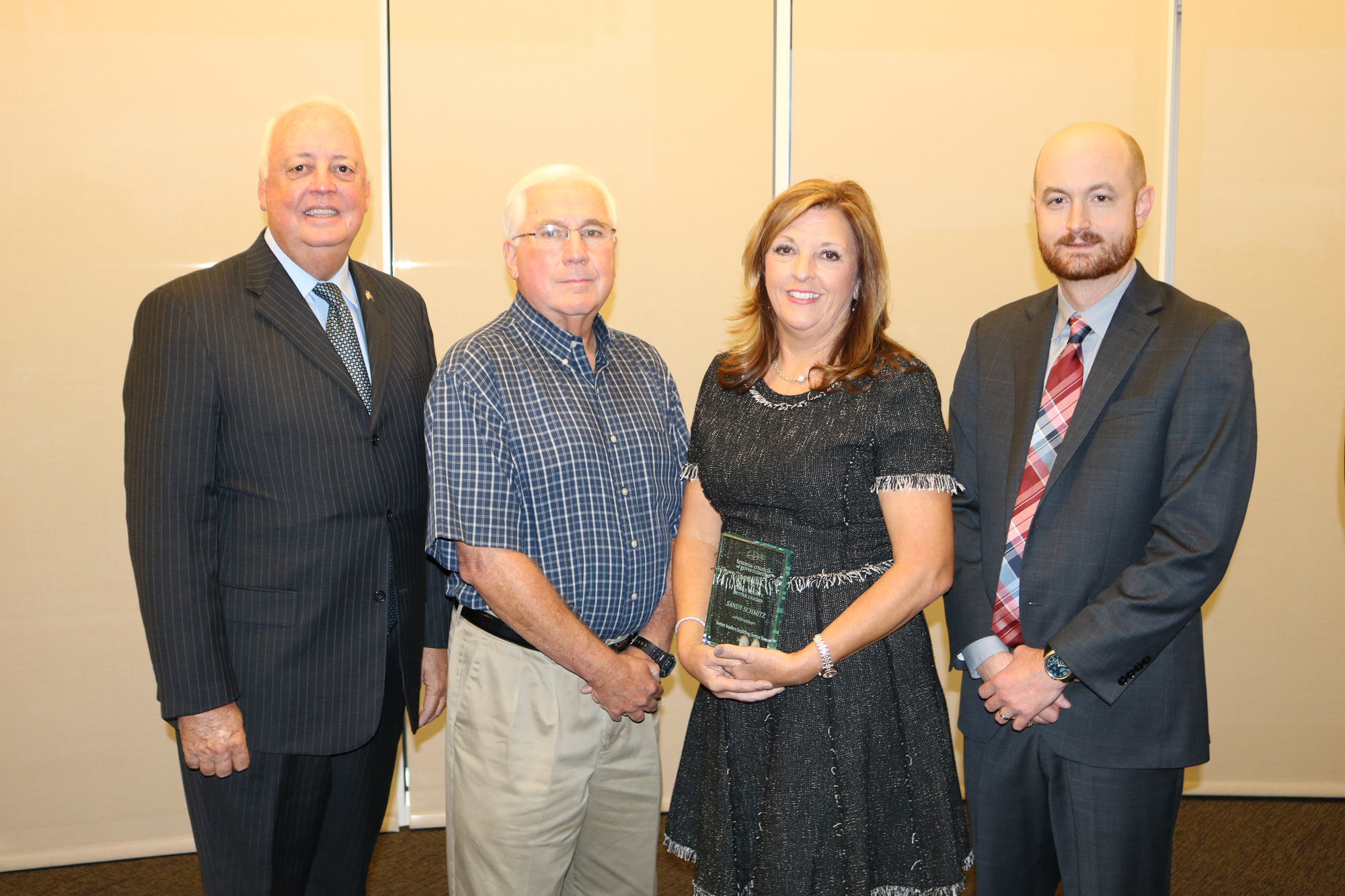 Dan Busch, Cooke County Community Representative; Councilman Ken Keeler, City of Gainesville; Sandy Schmitz, Cooke County Better Leader Award Recipient 2018; Judge Jason Brinkley, Cooke County