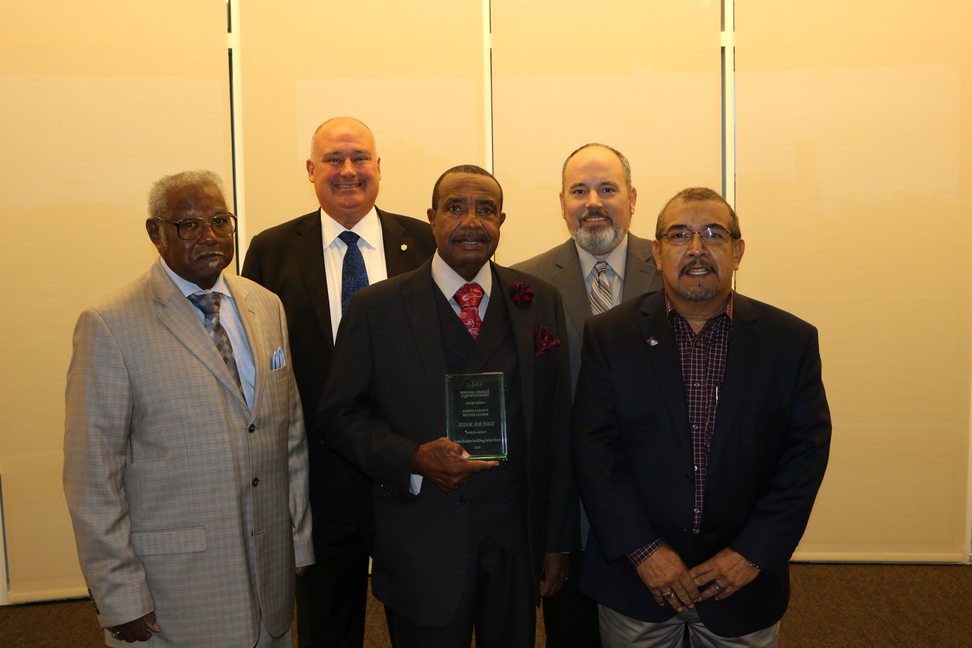 Reverend Cecil Jones, Fannin County Community Representative; Judge Spanky Carter, Fannin County; Judge Joe C. Dale, Fannin County Better Leader Award Recipient 2018; Jason Fox, Bonham ISD Trustee; Councilman Tony Rodriguez, City of Bonham