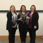 (Left to Right) Elisha Magar, Ivon Wood, and Andrea Grimes of the Grayson County Sheriff's Office were recognized with the Team Award of Merit