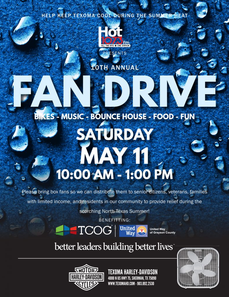 10th Annual Fan Drive - Saturday, May 11 - 10:00 am to 1:00 pm