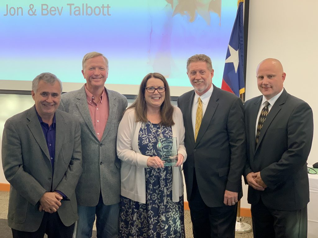 Grayson County Community Representative Bryan Wilson, Grayson County Better Leaders 2019 Jon & Bev Talbott, Denison ISD Trustee Bob Rhoden, and TCOG Executive Director Eric Bridges